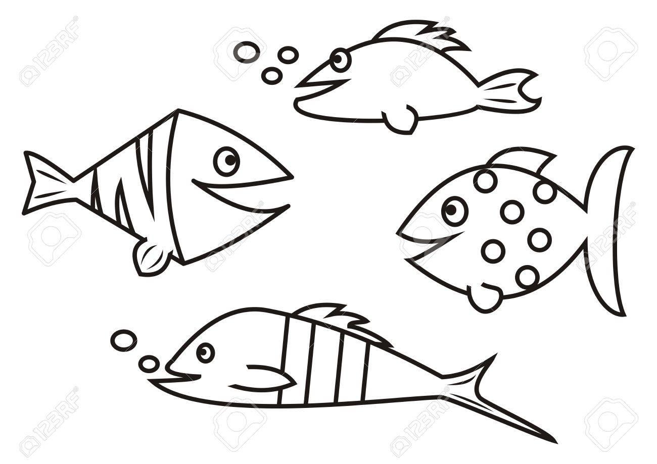 魚 塗り絵のイラスト素材ベクタ Image 30726250