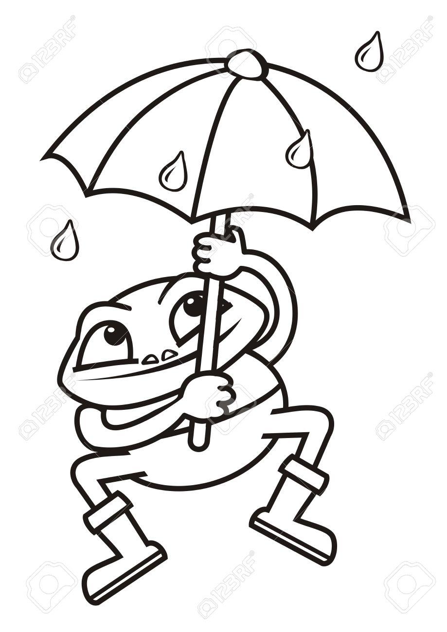 Frog And Umbrella Coloring Book Stock Vector