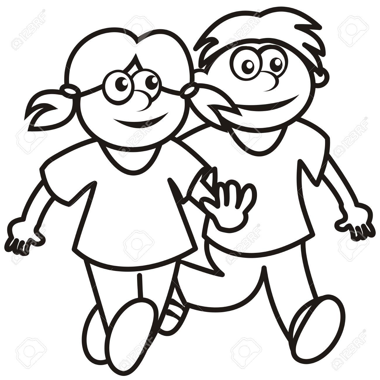 女の子と男の子塗り絵のイラスト素材ベクタ Image 33203449