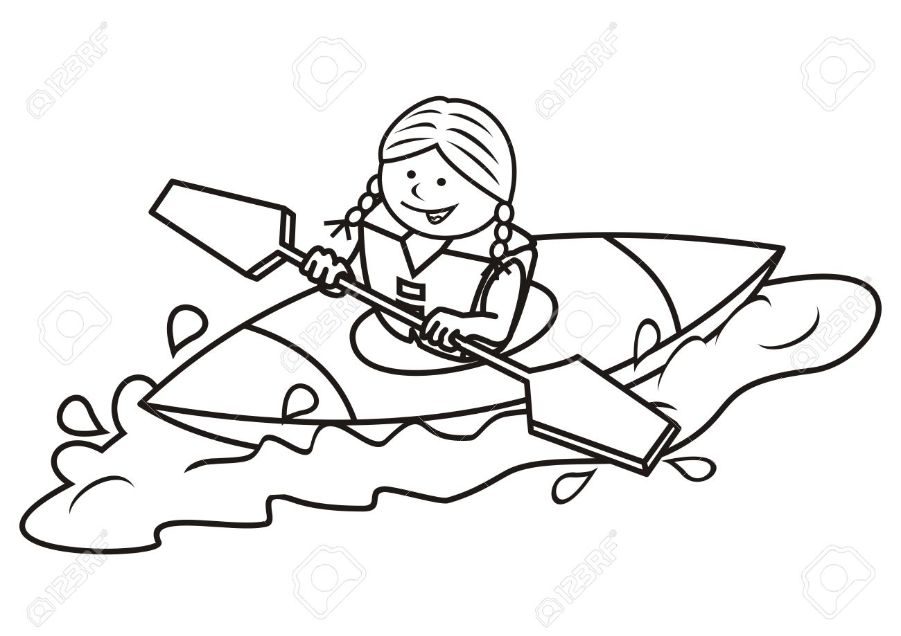 Girl And Kayak, Coloring Book Royalty Free Cliparts, Vectors, And ...