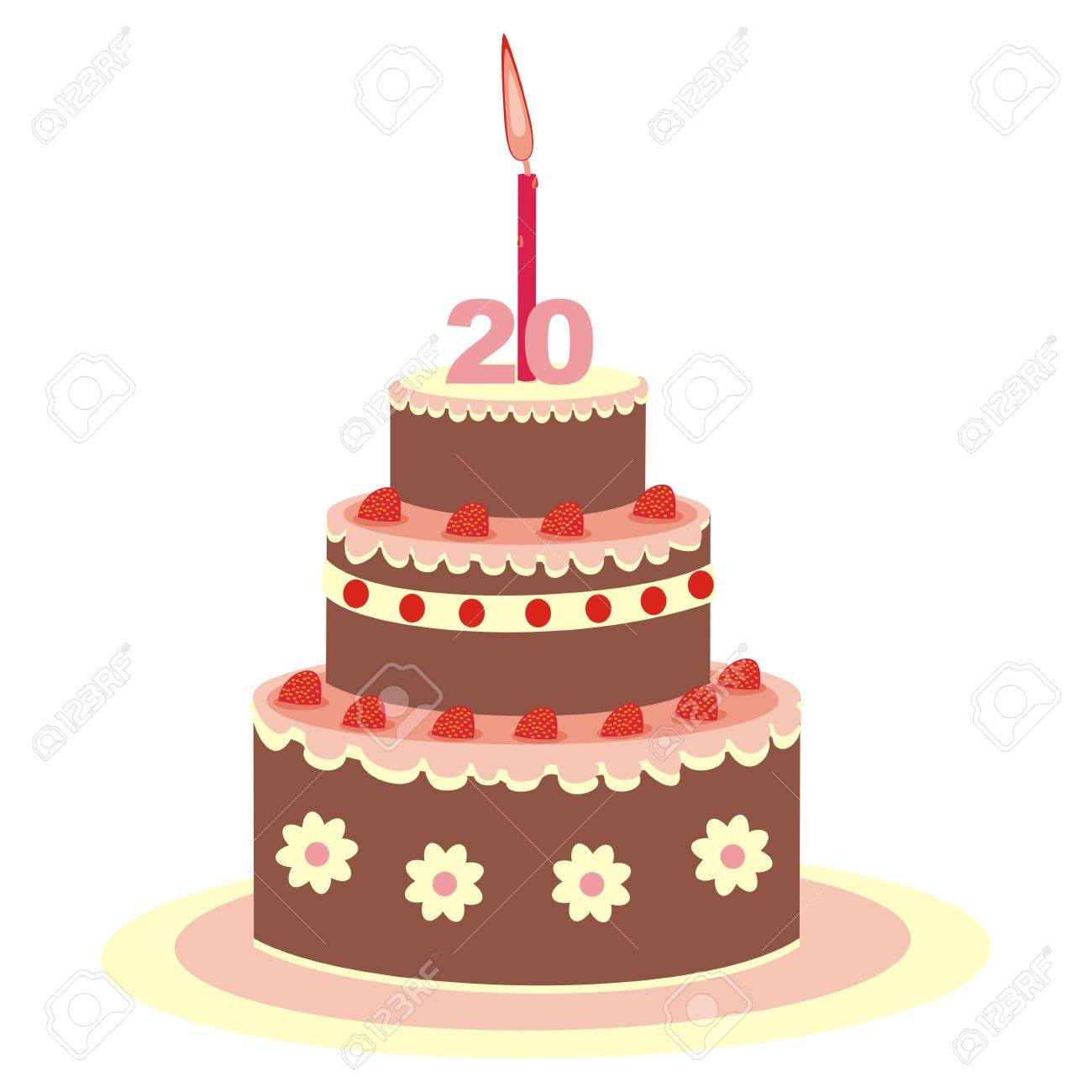 Birthday Cake Twenty Years Stock Vector