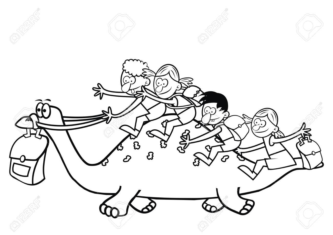 Dinosaurio Y Los Niños Para Colorear Libro