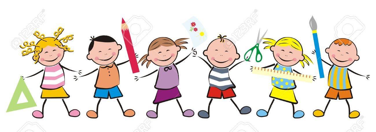 Enfants Et Du Materiel Scolaire Clip Art Libres De Droits Vecteurs Et Illustration Image 43542146