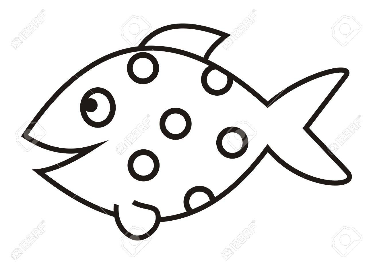 Smile Fish Vector Icon Coloring Book Stock