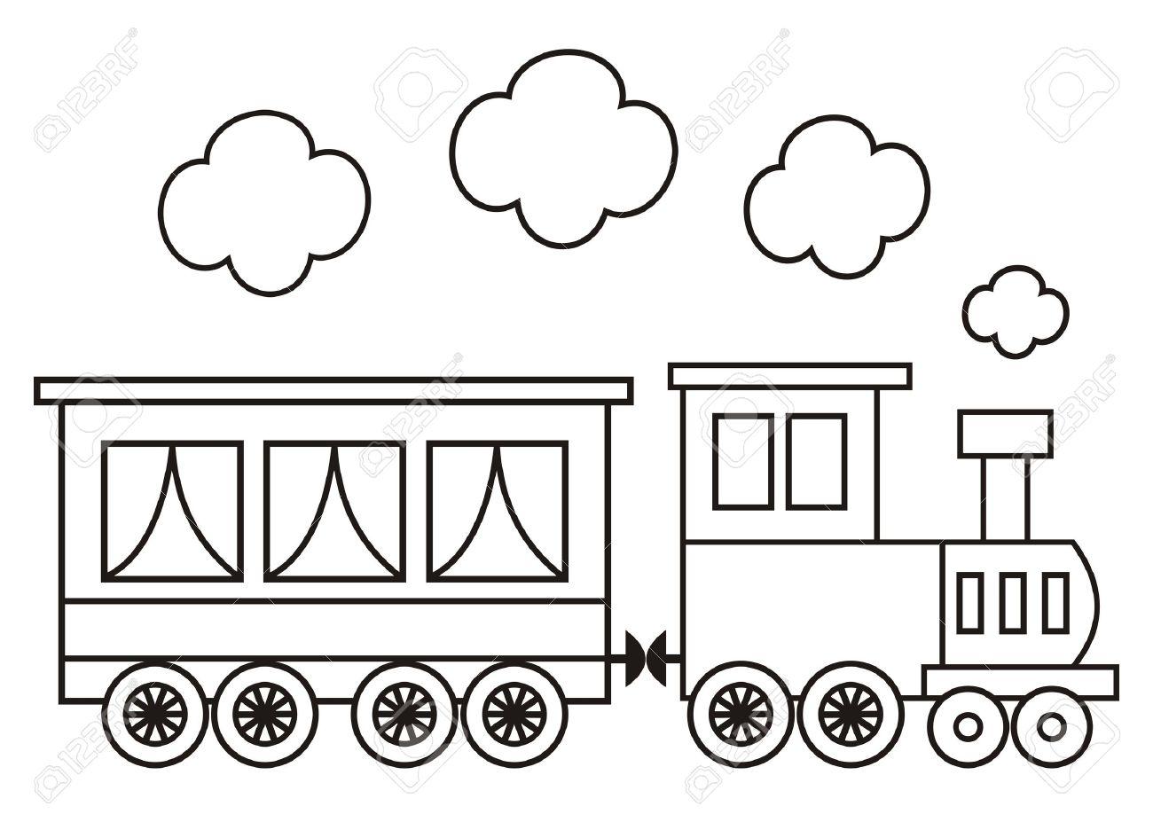 Tren, Locomotora Y El Vagón. Dibujos Para Colorear Para Niños