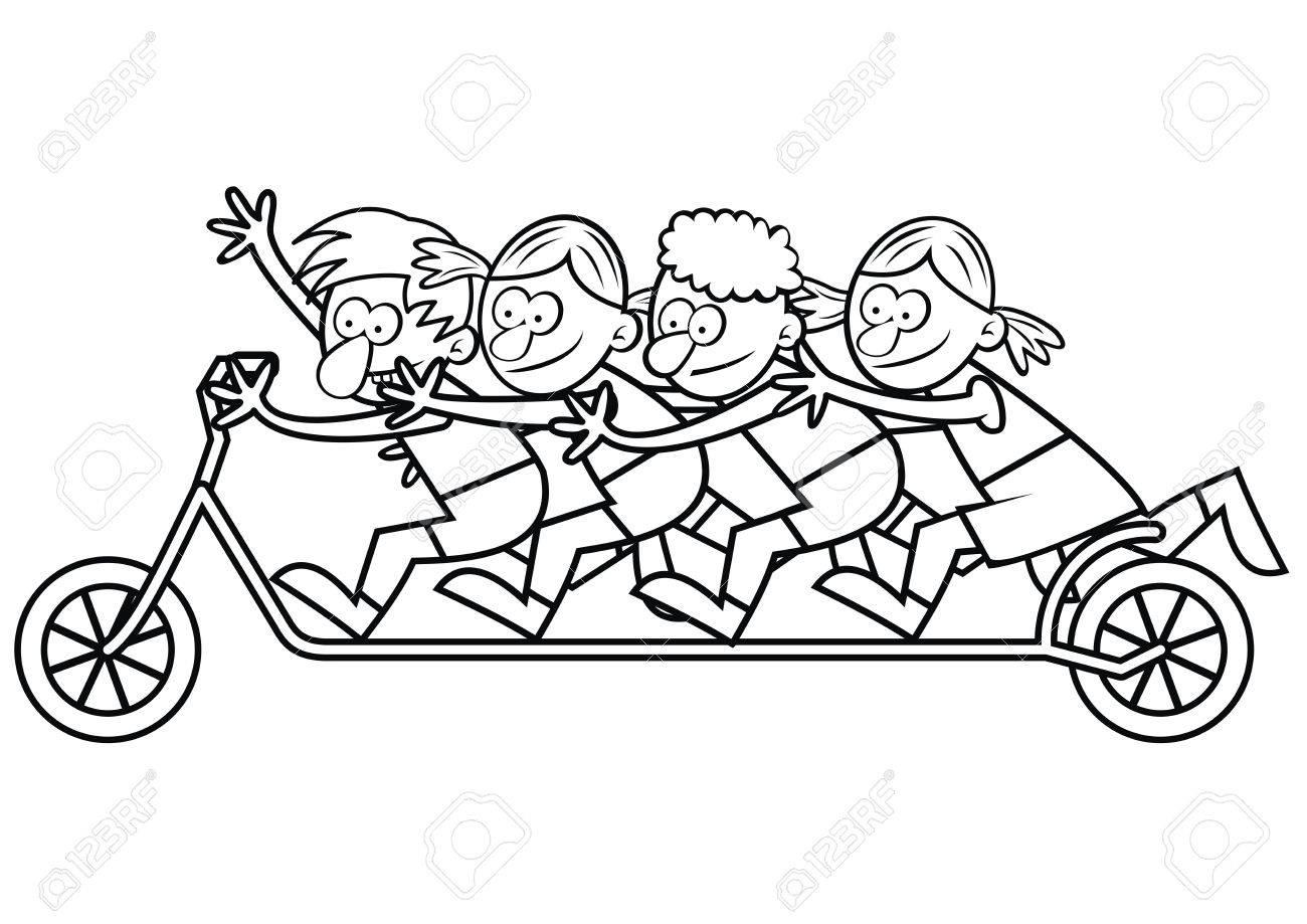 子どもたちと塗り絵のスクーターのイラスト素材ベクタ Image 58601819