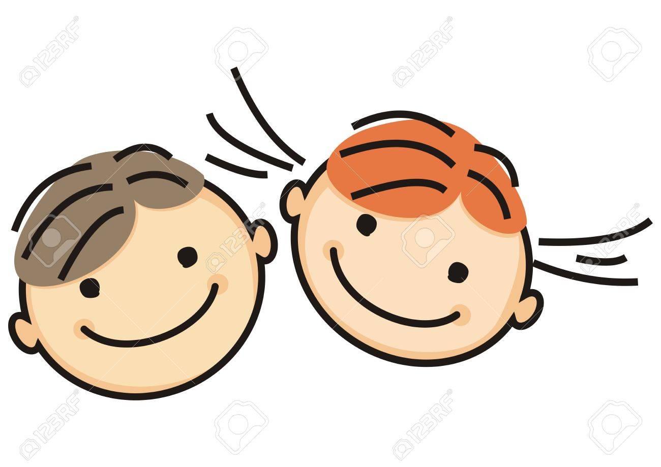 男の子と女の子笑顔の顔イラストのイラスト素材ベクタ Image 64933166