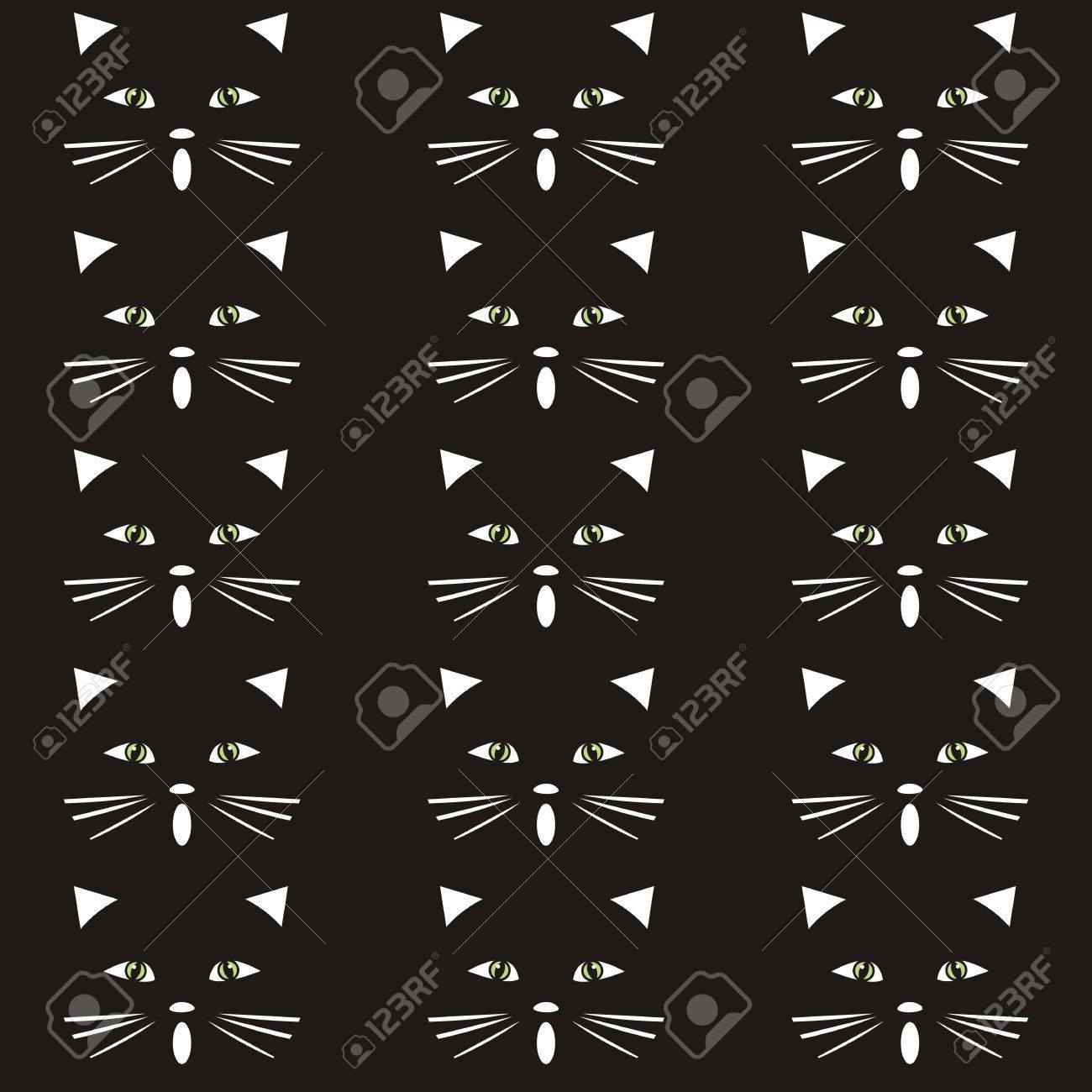 猫 テクスチャ 背景 黒と白のシルエット 壁紙やファブリック のイラスト素材 ベクタ Image