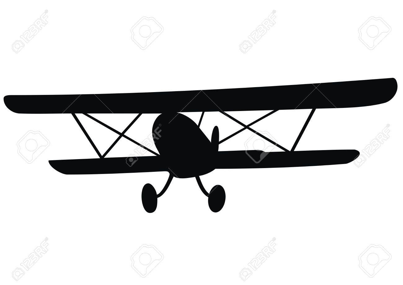 Biplane Black Silhouette Historical Plane Royalty Free Cliparts