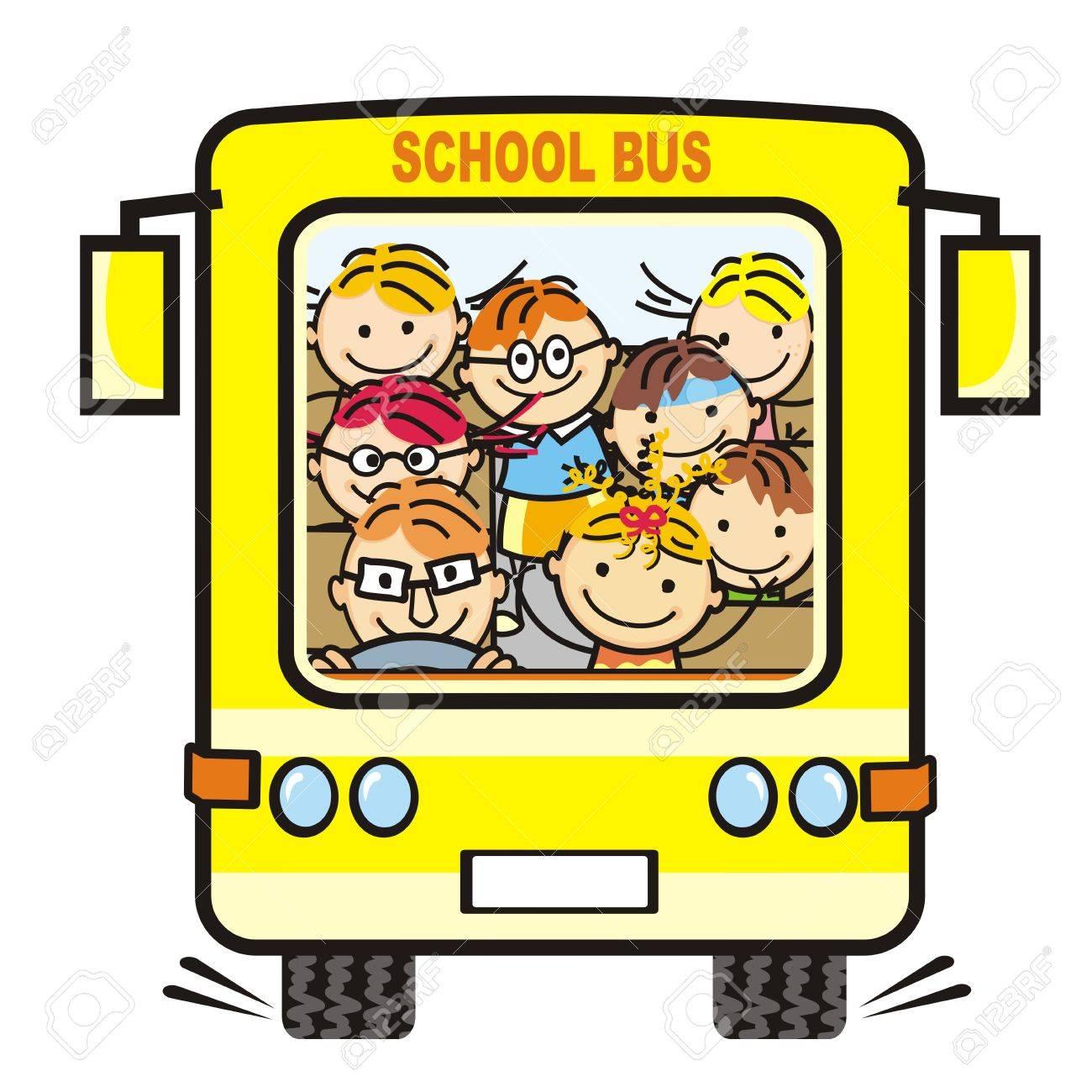 yellow school bus and children icon humorous illustration royalty