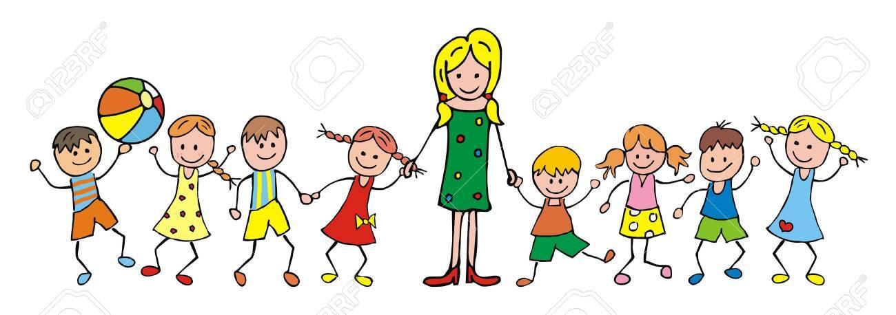 Teacher And Children, Kindergarten, Vector Icon Royalty Free ...