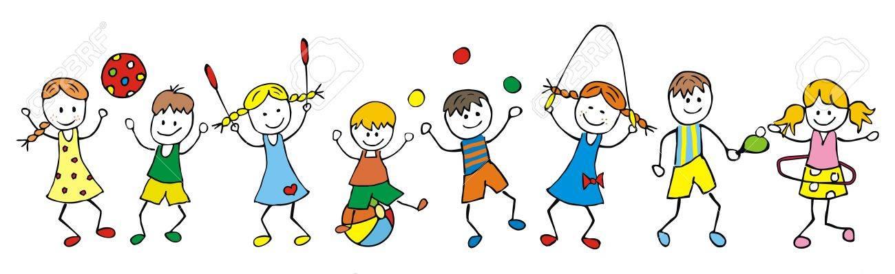 Abbildung Der Glücklichen Kinder, Die Zusammen Spielen. Lizenzfrei ...