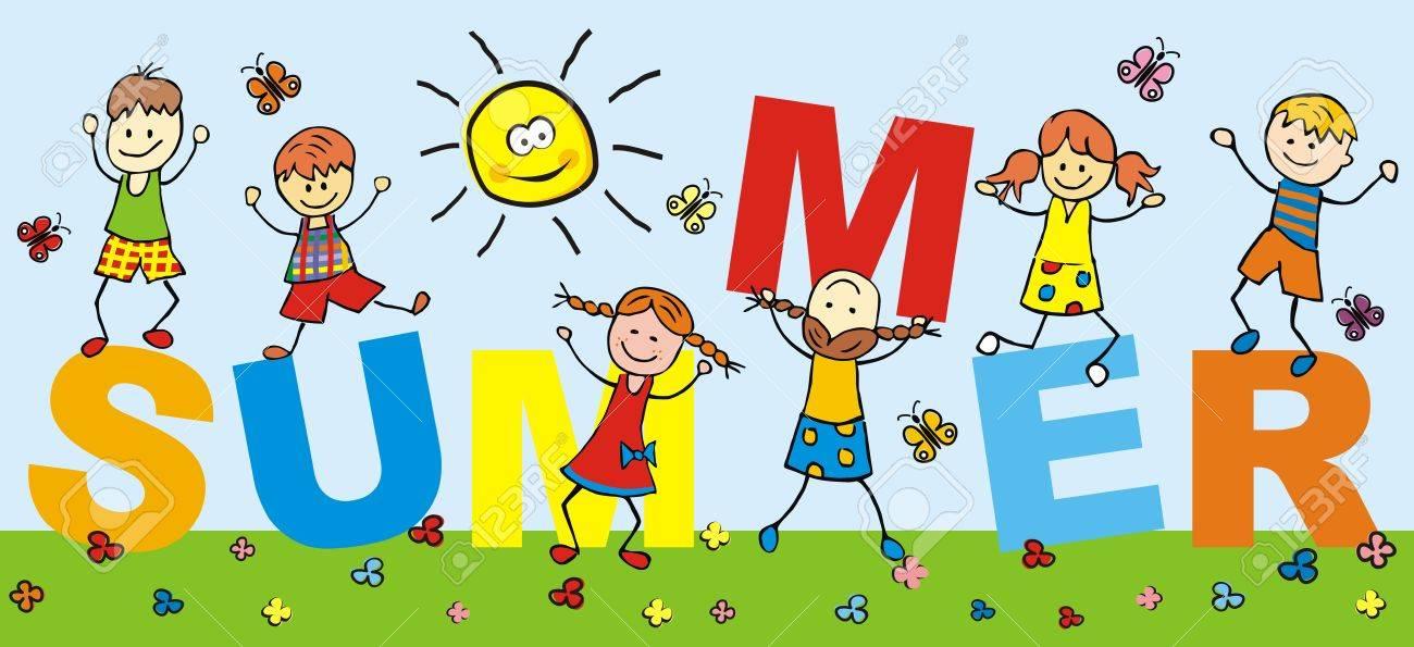 Niños Felices Y Verano De Texto, Niños Romping. Ilustraciones ...