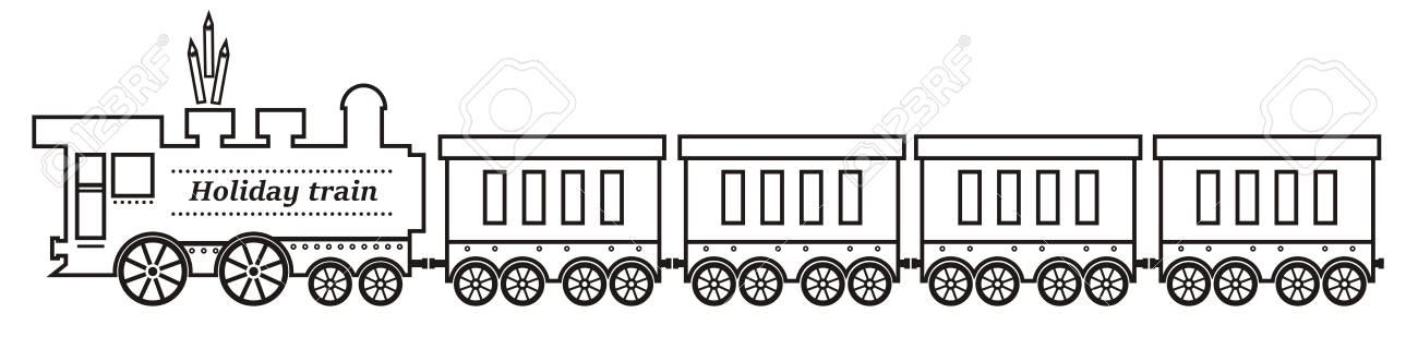 Train Locomotive A Vapeur Avec Des Wagons Illustration