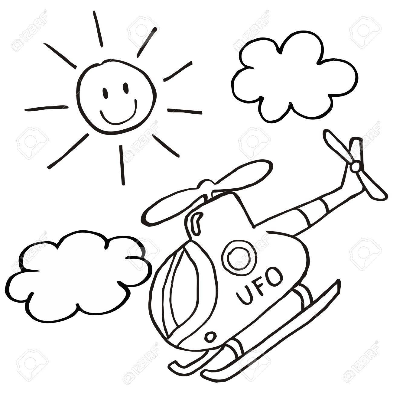 Hélicoptère Et Soleil Icône Vectorielle Coloriage Pour Enfants