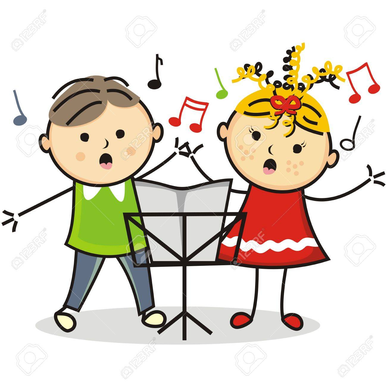singing kids and music stand vector icon royalty free cliparts rh 123rf com