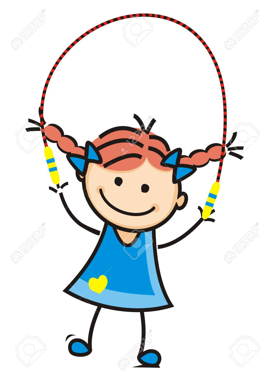 girl and jump rope vector illustration royalty free cliparts rh 123rf com jump rope for heart clip art skipping rope clipart