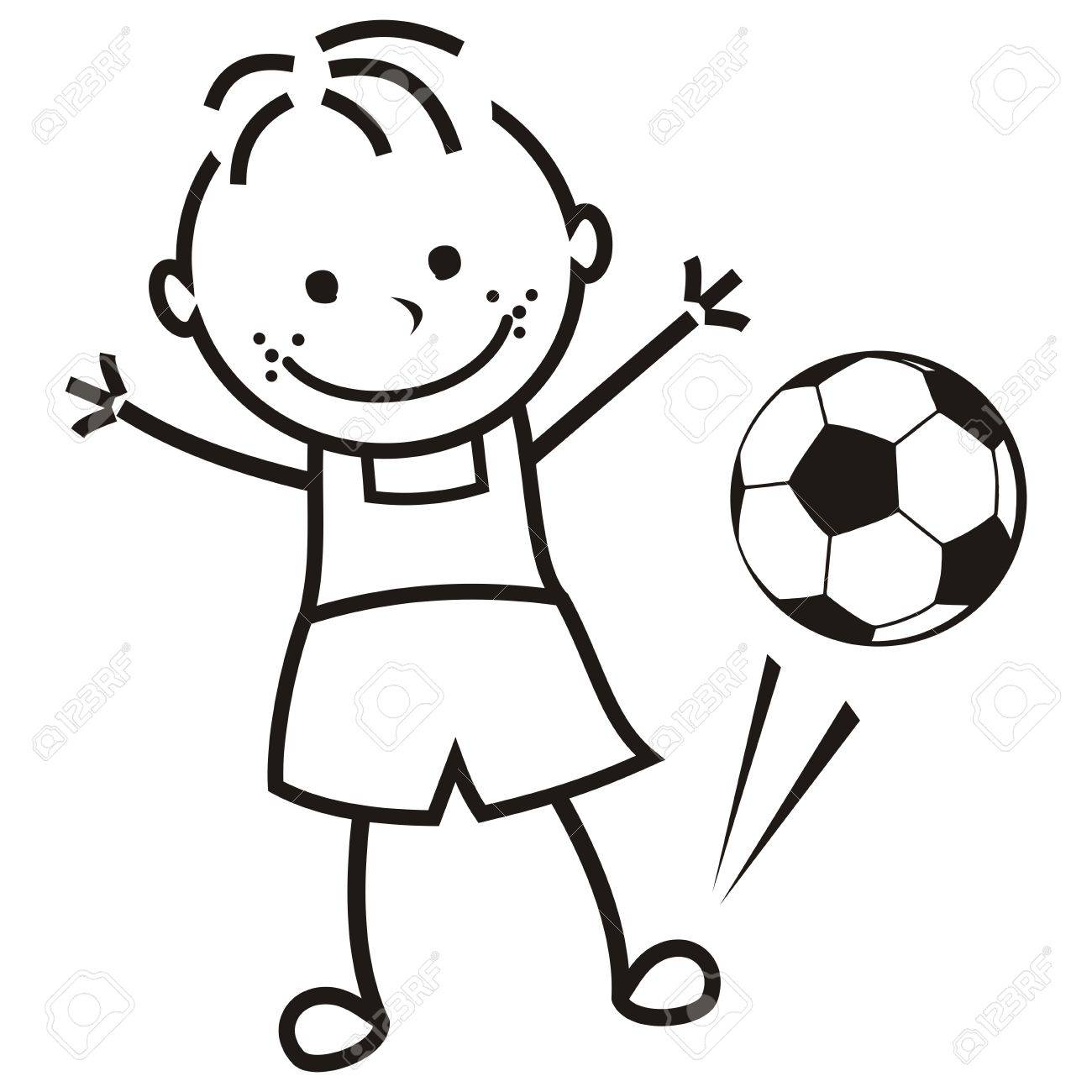 Boy And Soccer Ball, Vector Illustration, Coloring Page Royalty Free ...