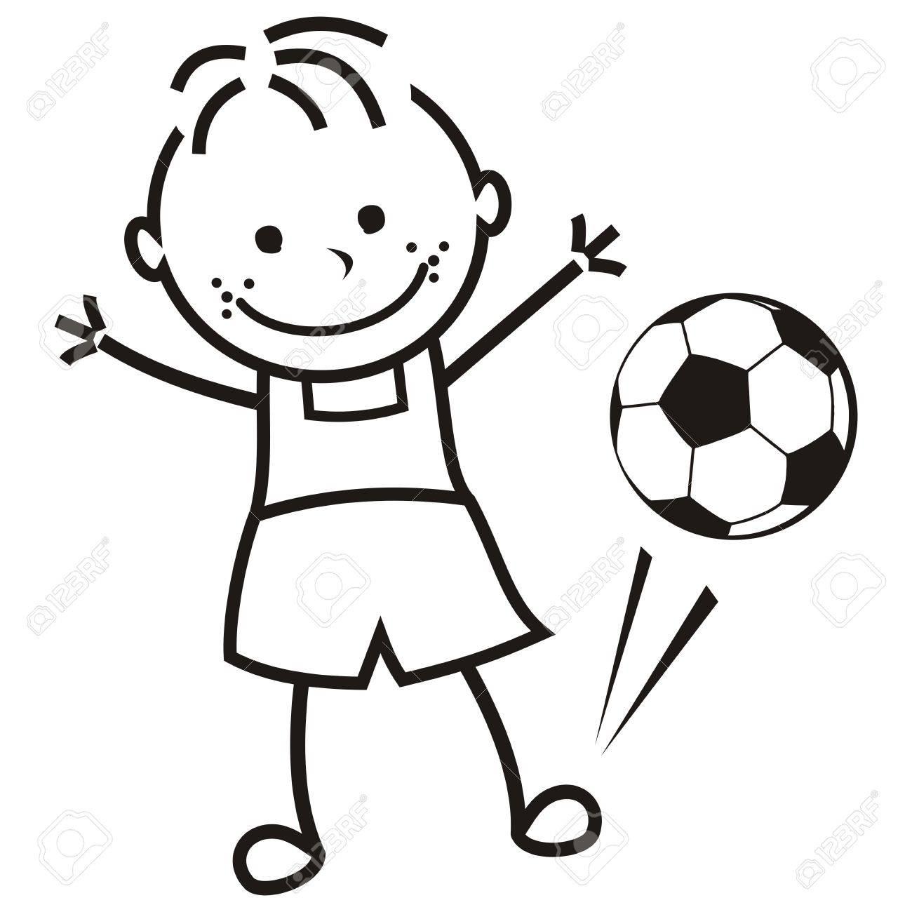 Niño Y Pelota De Fútbol Ilustración Vectorial Para Colorear