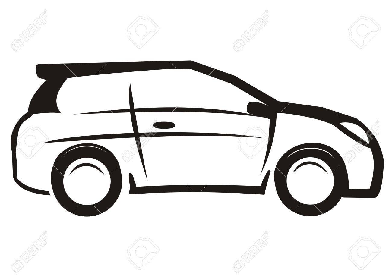 Auto, Schwarz-Weiß-Skizze, Vektor-Symbol Lizenzfrei Nutzbare ...