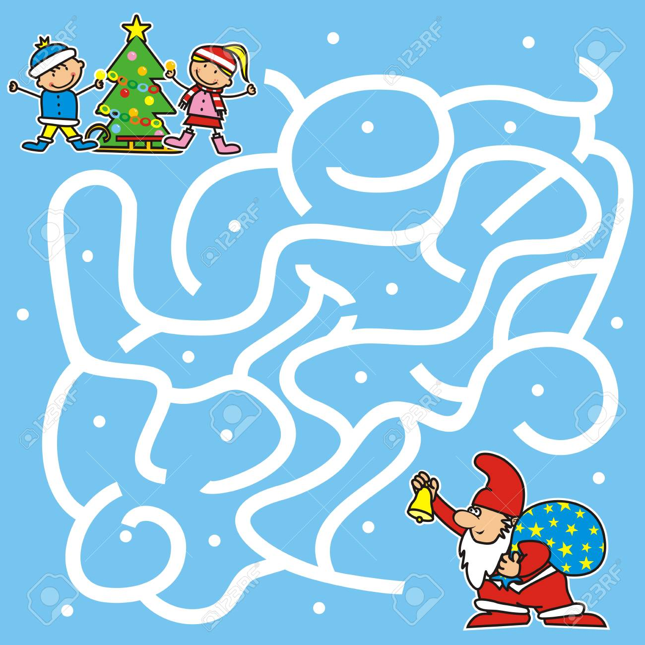 Christmas Game For Kids. Labyrinth, Santa Claus Find Way To The ...