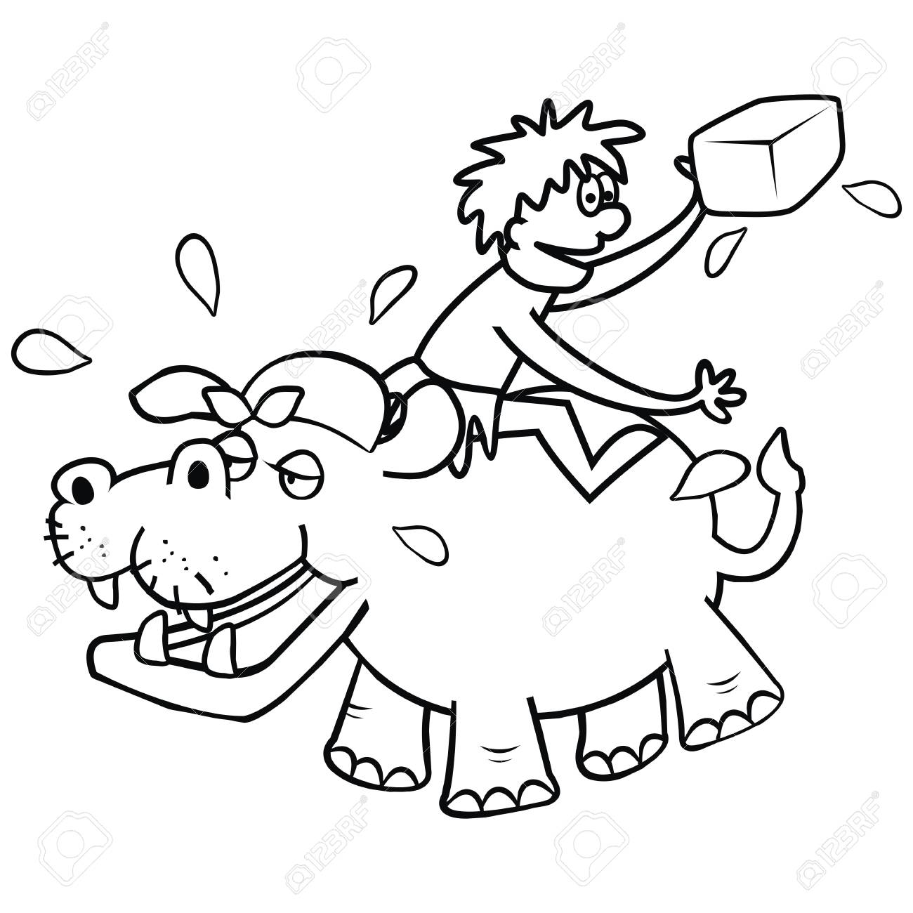 Ilustración Hipopótamo Y Veterinaria, Divertida, Para Colorear ...