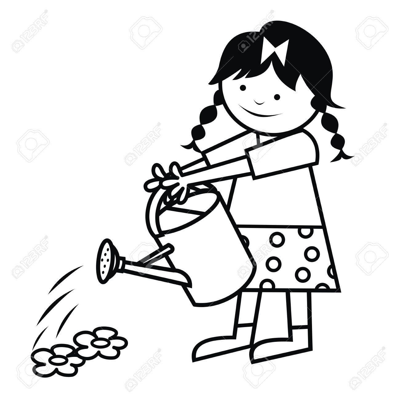 La Niña Está Regando Flores. Icono De Vector. Libro De Colorear ...