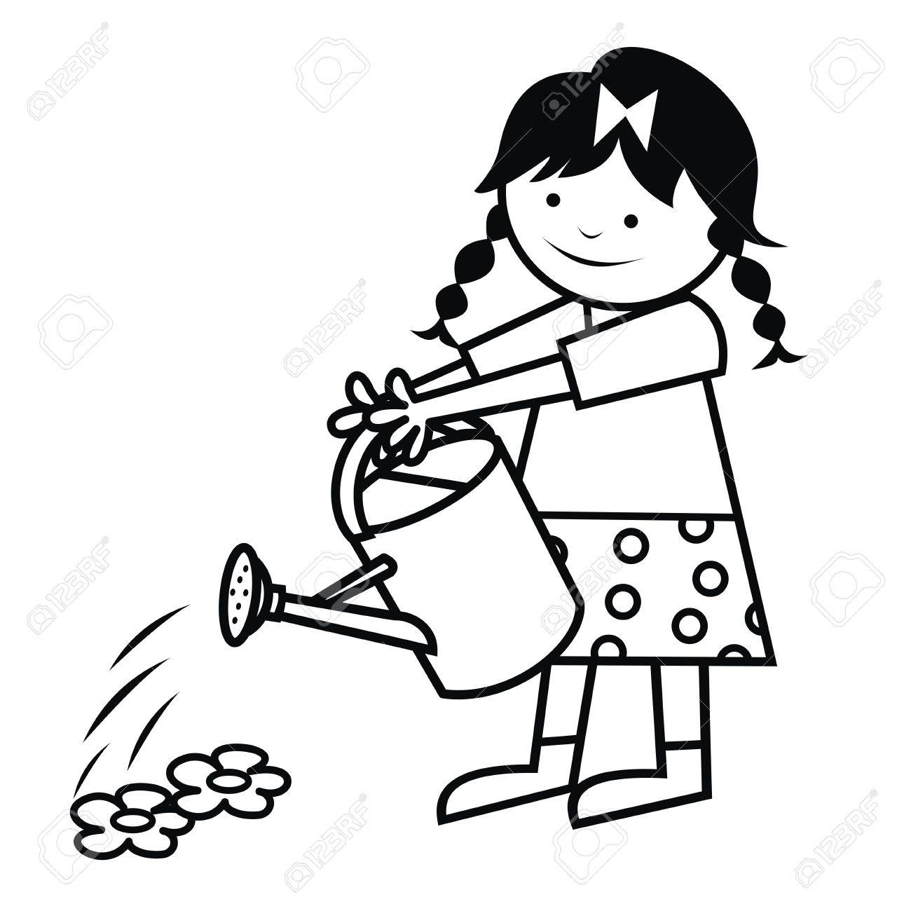 The Girl Is Watering Flowers. Vector Icon. Coloring Book. Royalty ...