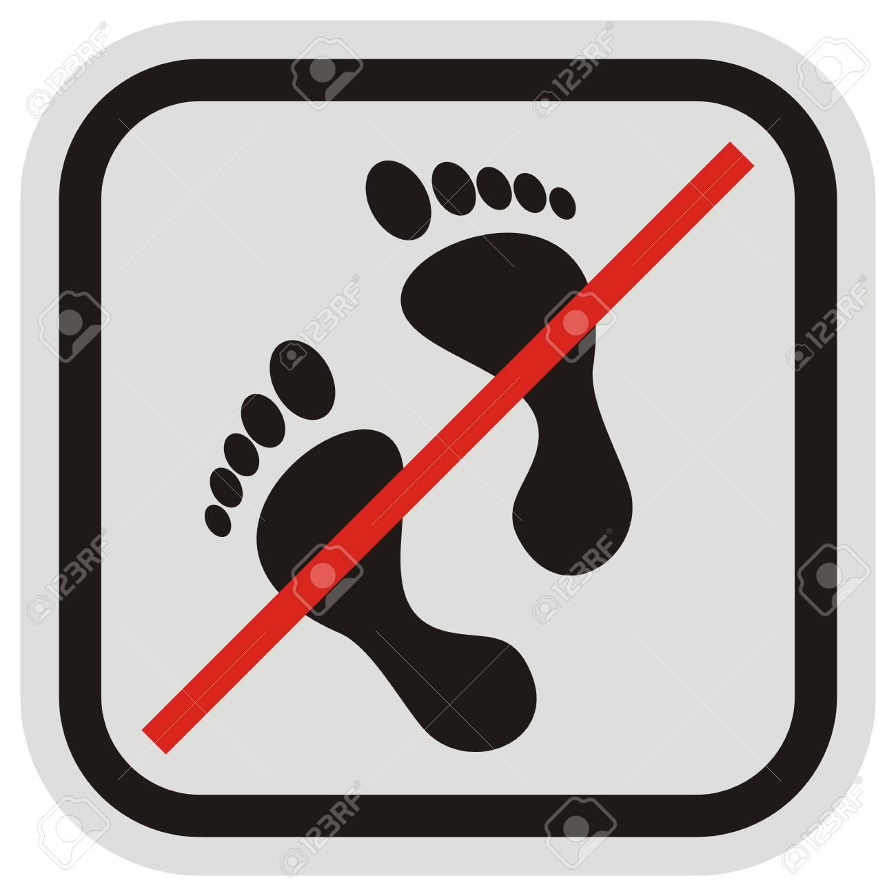 Keine Eingabe, Fußmarke In Grauer Und Schwarzer Rahmensymbol ...