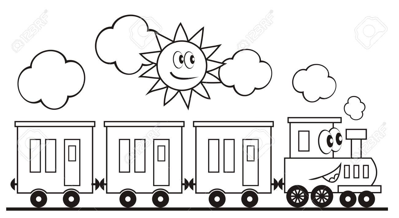 Tren Conjunto Tres Vagones Locomotora Ilustracion De Vector