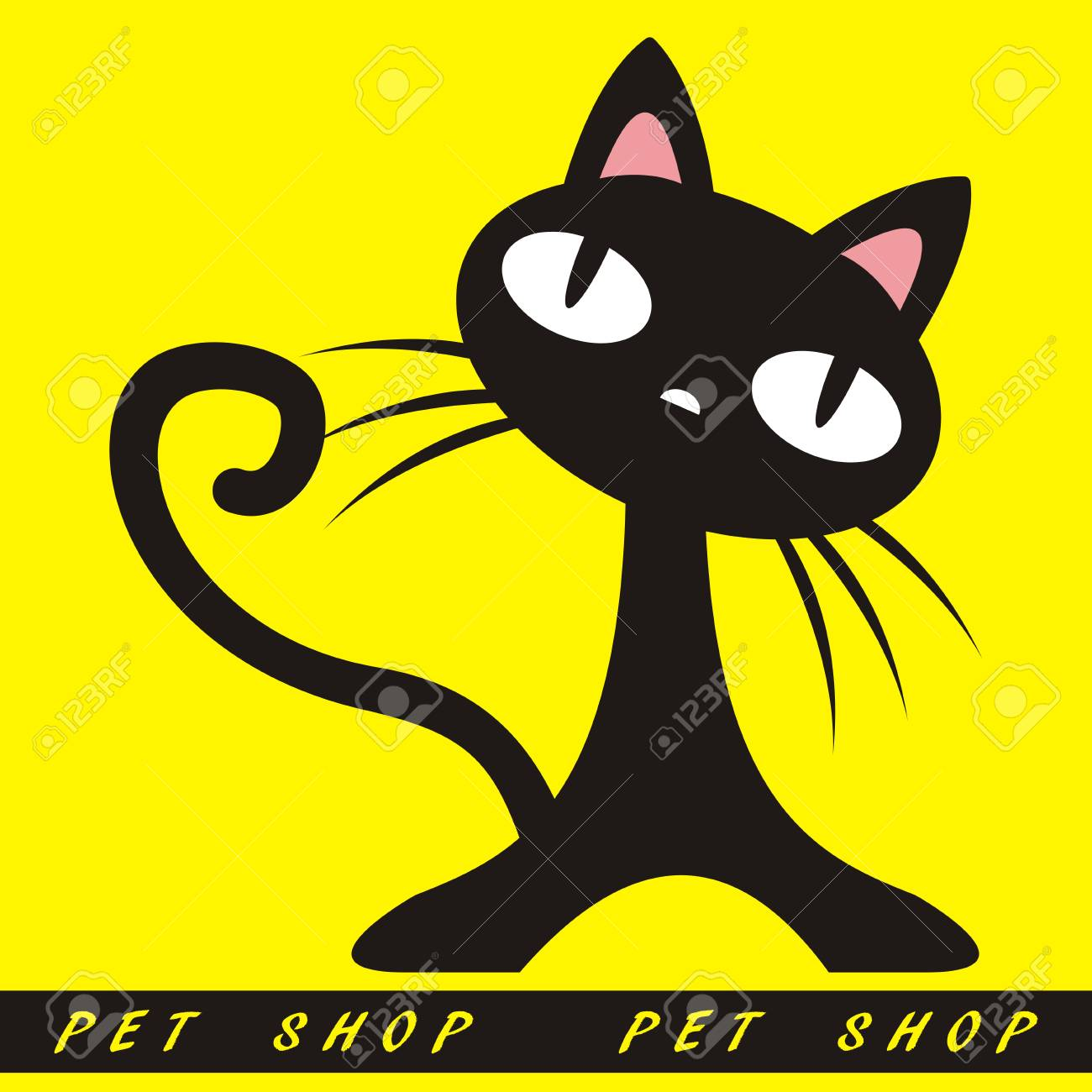 Black Cat On Yellow Background Funny Vector Illustration Decoration Royalty Free Cliparts Vectors And Stock Illustration Image 92699153