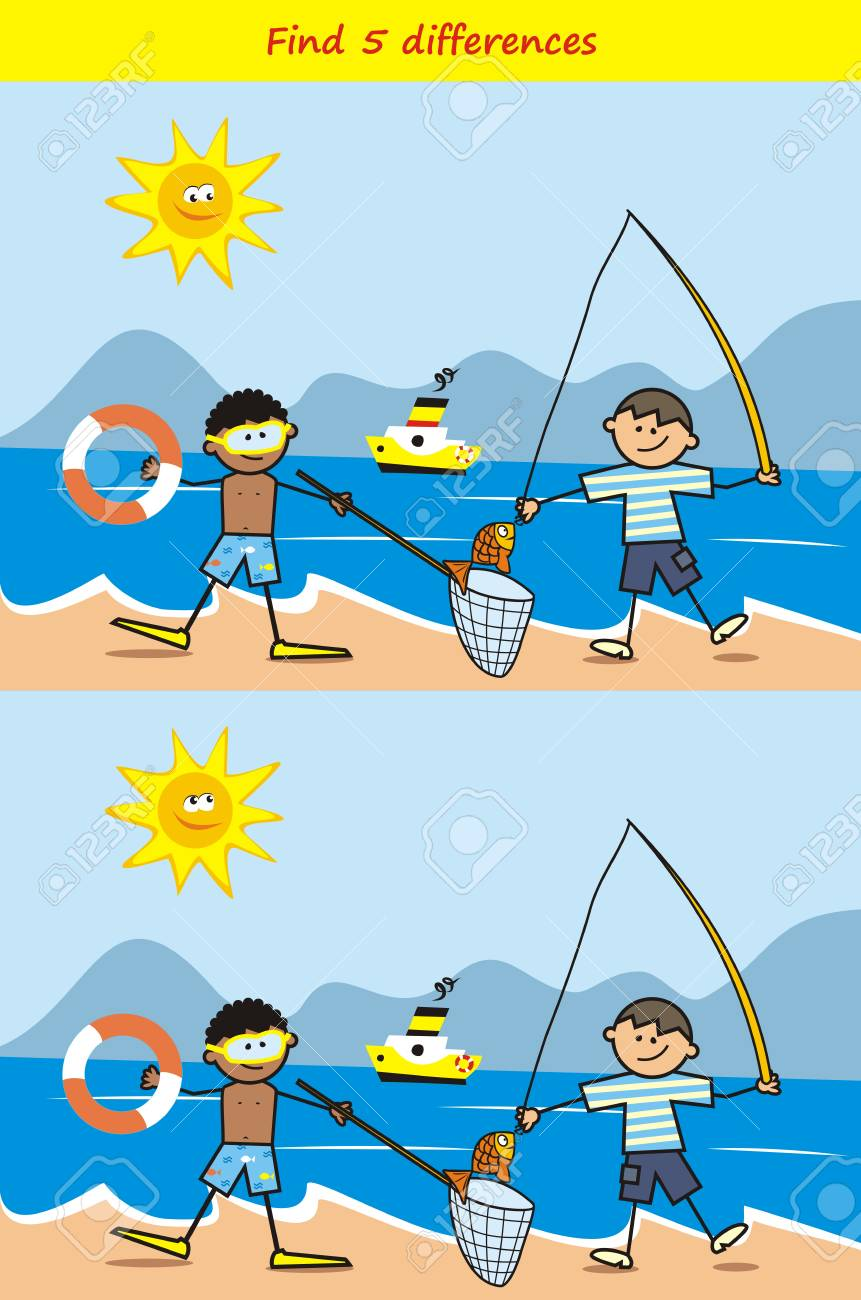 Find Board fisher and diver, find 5 differences, board game for children,..