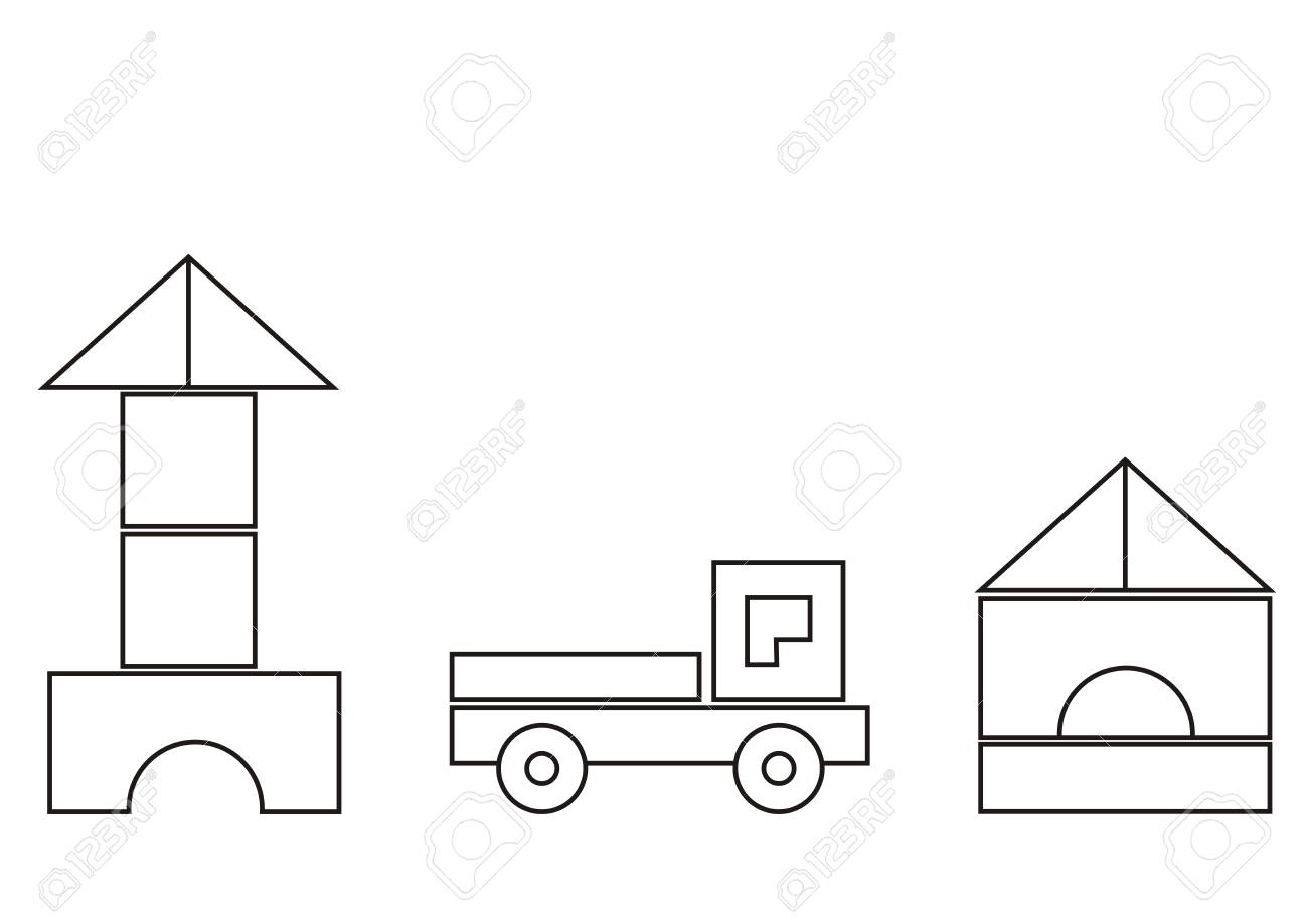 Building Kit, Basic Shapes And Coloring Book For Children Vector ...