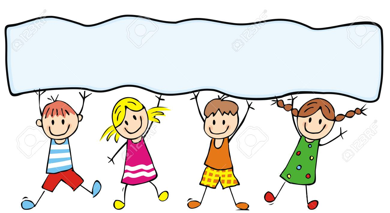 Happy kids and banner, vector illustration, color illustration, place for text - 100732822