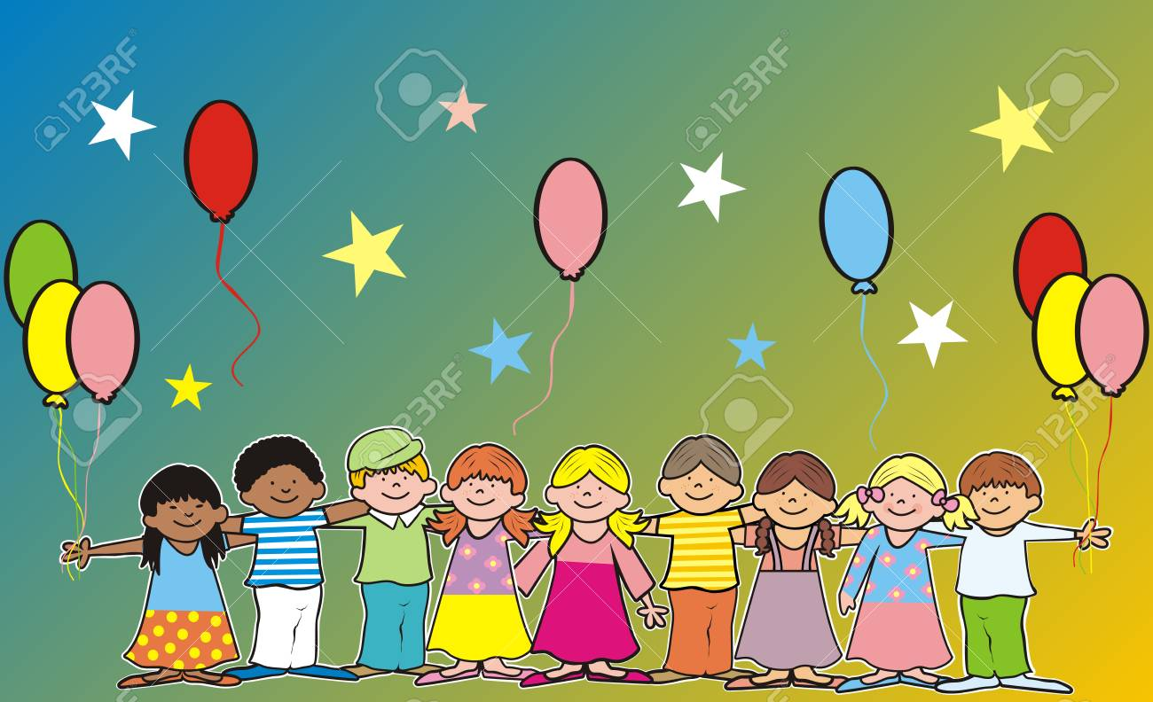 Happy kids and ballons, banner, vector illustration, postcards - 102975640
