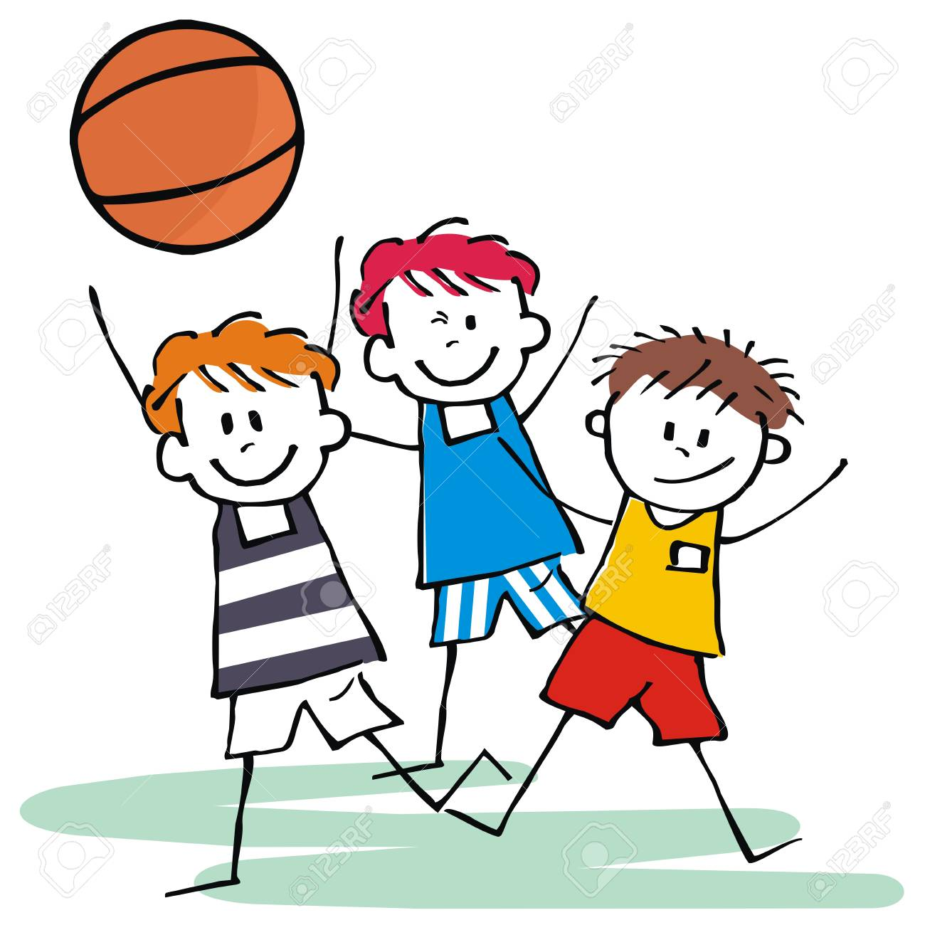 Sports Team Three Happy Kids Basketball Vector Icon Royalty Free Cliparts Vectors And Stock Illustration Image 107058734