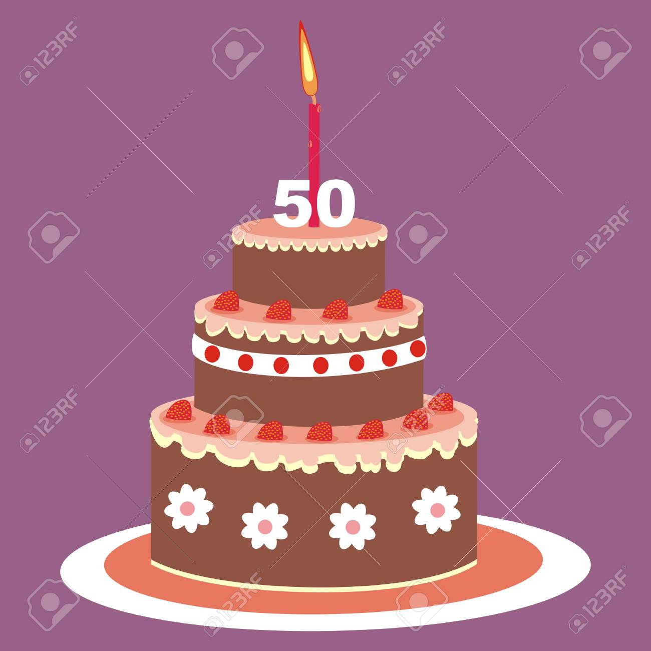 Birthday Cake 50 Years Vector Illustration Fruit With Candle On A Purple