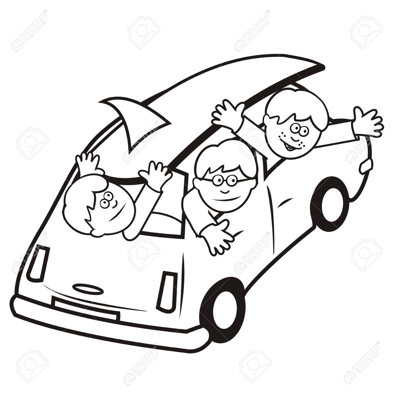 Group of boys at car, on the beach surf, vector illustration,..