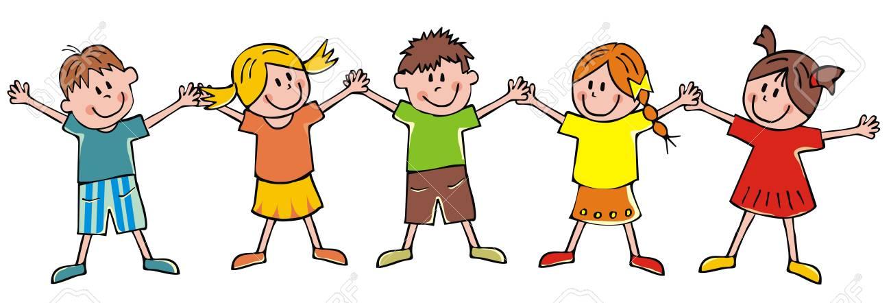 Five children, funny vector illustration - 122021541