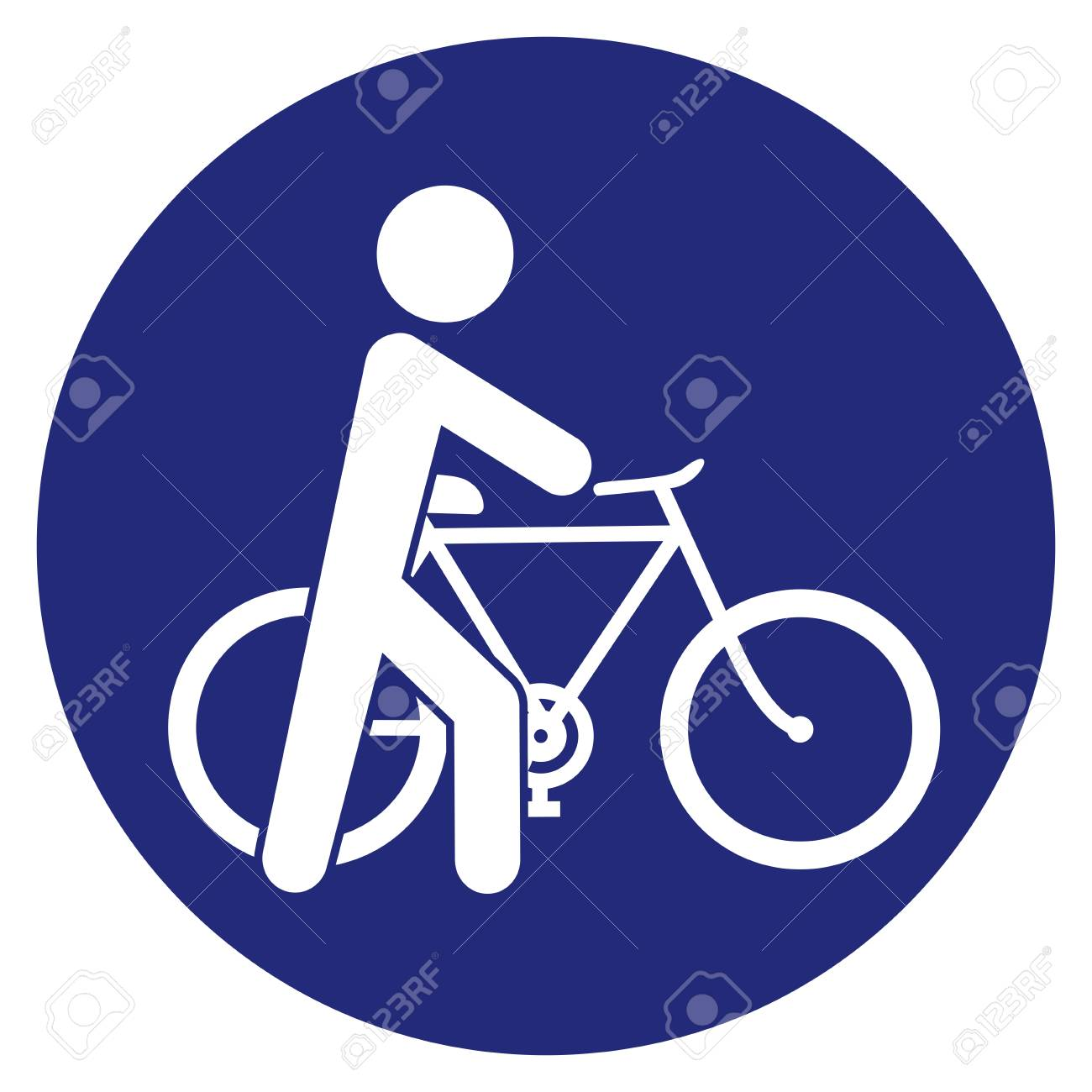 Cyclist, Get Off The Bike, go next to the bike, vector road sign, blue circle frame. - 123544073