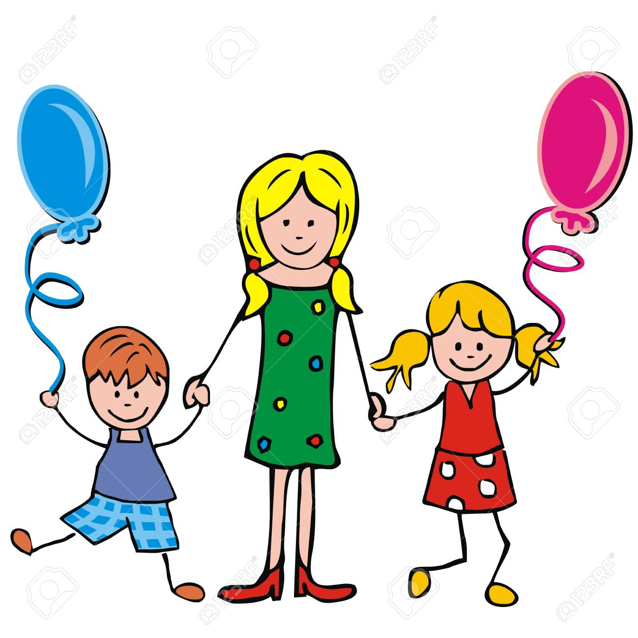 Mother, boy and girl with balloons, vector illustration - 126165949