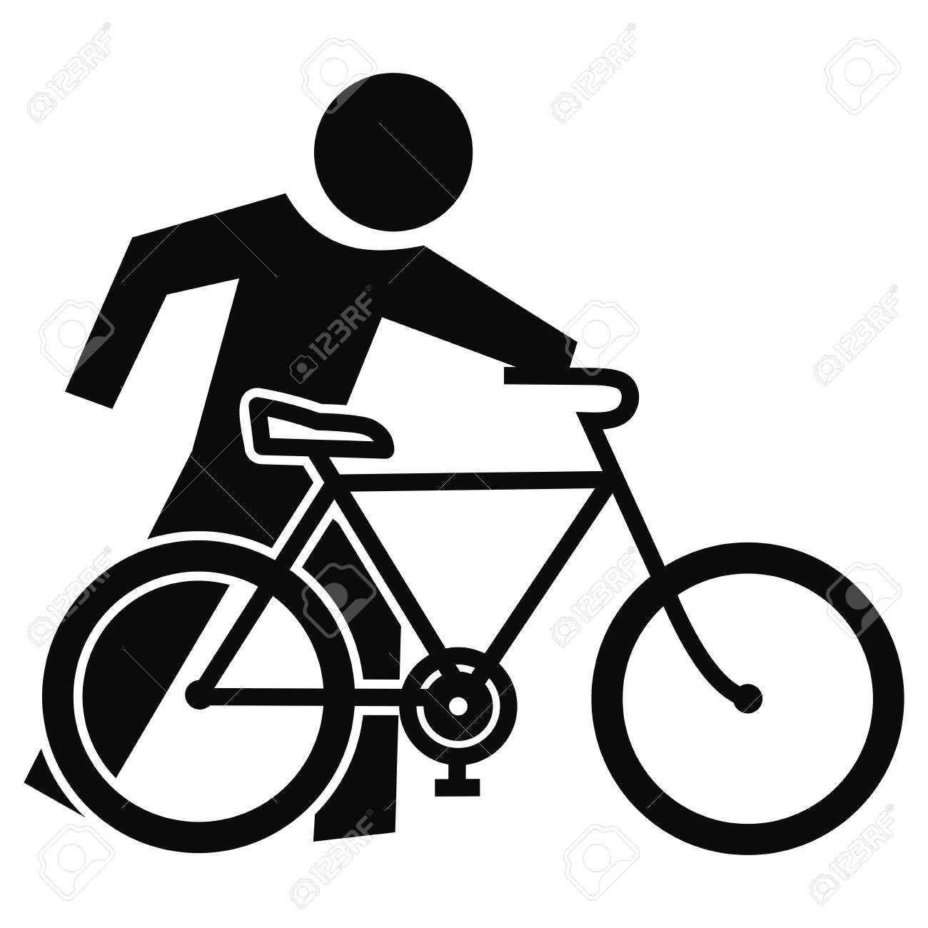 Cyclist, Get Off The Bike, go to the bike, vector icon, eps Black silhouette of cyclist. - 128435731