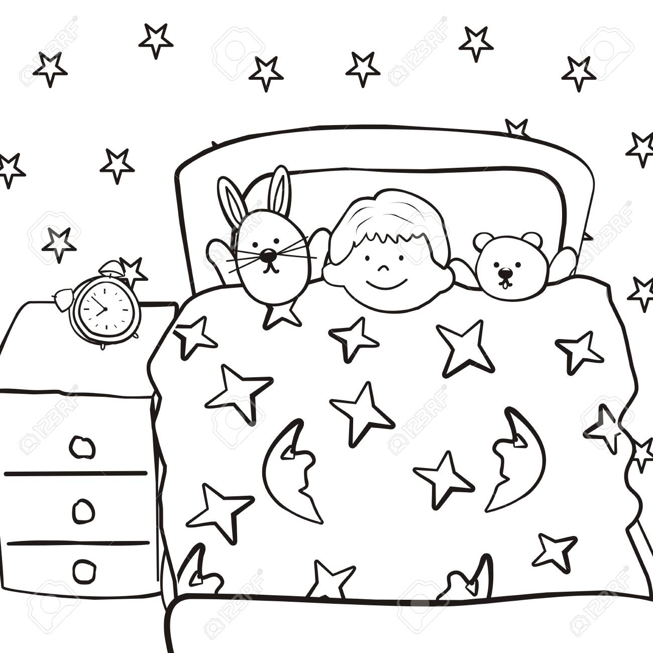 Nursery Boy In Bed Coloring Book Vector Icon Royalty Free Cliparts Vectors And Stock Illustration Image 143523735