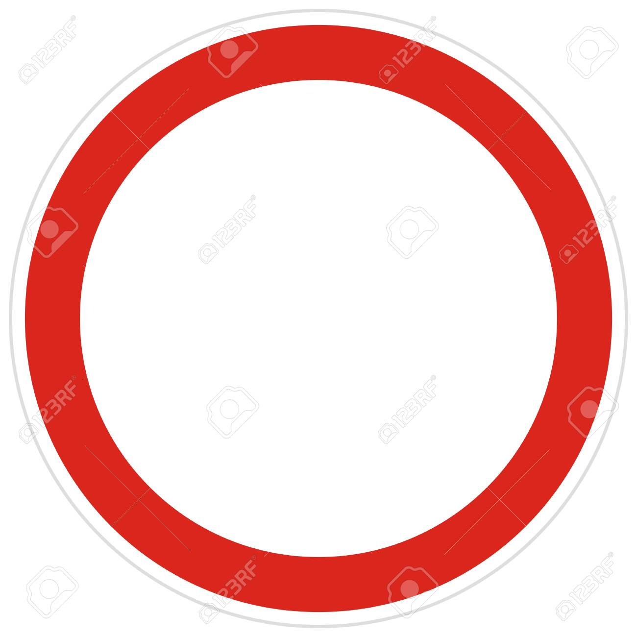 No entry road sign vector illustration. Not allowed sign isolated on white background. No entry of all vehicles in both directions. - 147431485