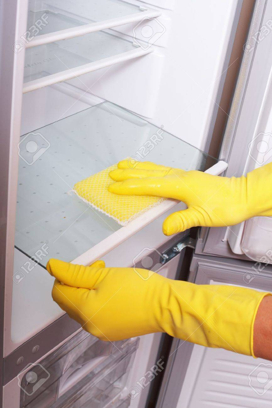 Hands cleaning refrigerator. Stock Photo - 11677734