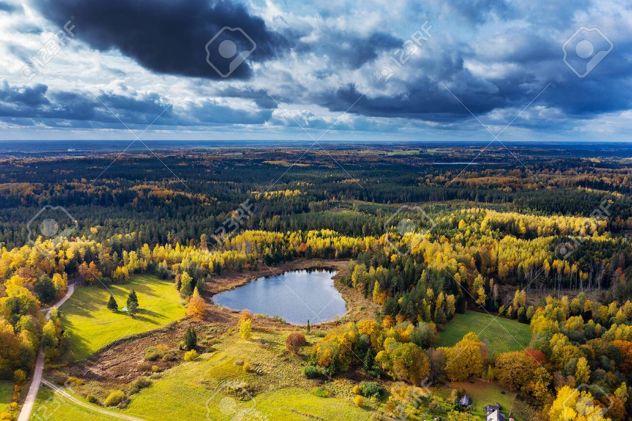 Autumn colors in countryside landscape. - 132234856