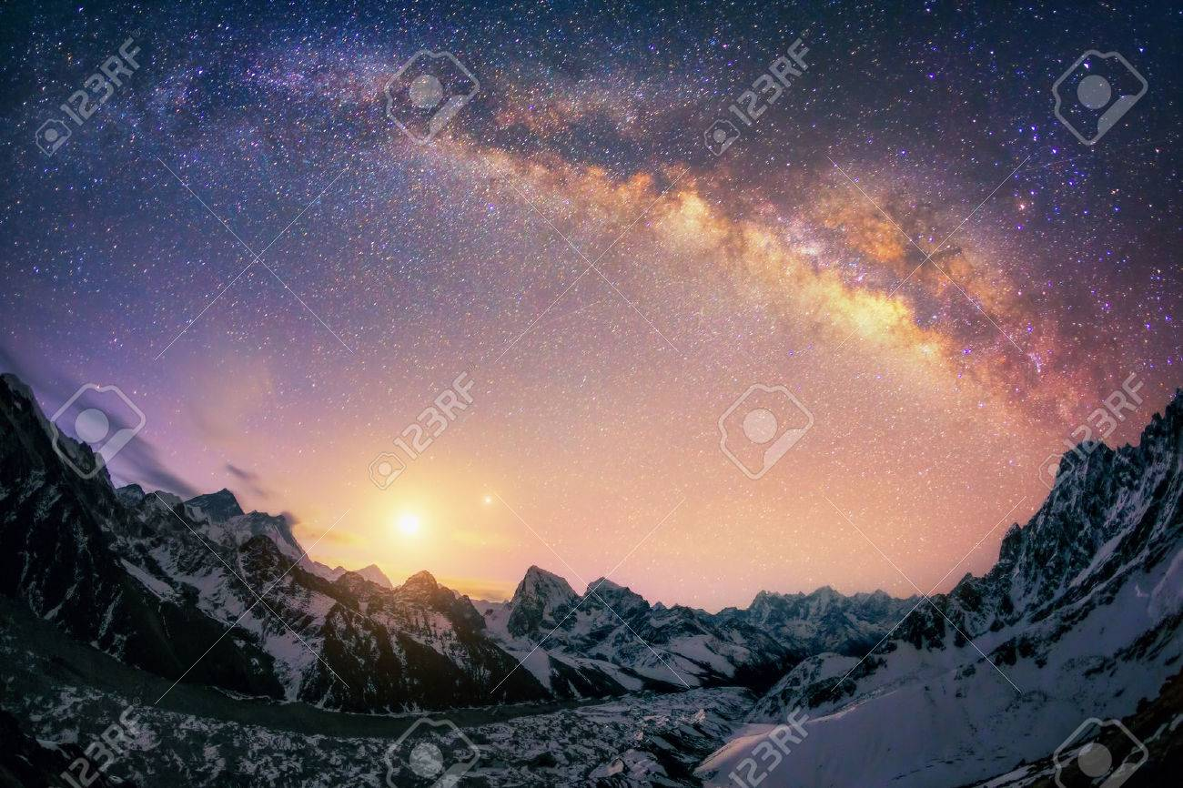There are 3 of the 5 highest mountains in world Everest 8850 m Lhotse 8516 m and Makalu 8485 m. And the biggest glacier lies underneath them Ngonsumpa Glacier which is 36 km long. This picture is crowned by recently rised Moon and Venus. - 41319845