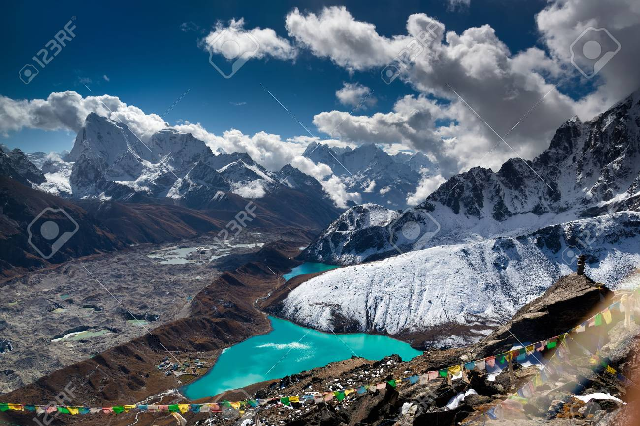 Beautiful turquoise lake high in the mountains. Nepal, Everest National Park. View from the Gokyo Peak 5,357 m. - 43828063