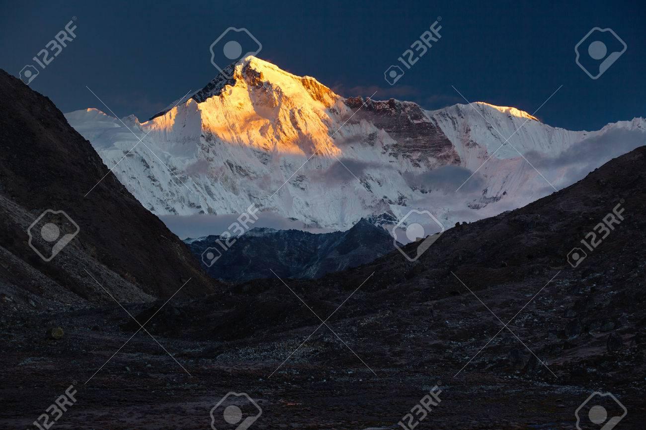 The Goddess of Turquoise.Nepal, Himalayas, Sagarmatha National Park, view on Cho Oyu (8,201 m) from the Gokyo Village (4,970 m - 71875323