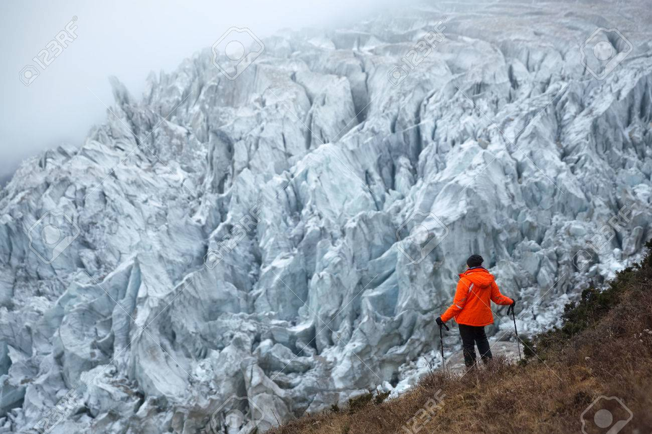 A majestic icefall of the Manaslu glacier on the way to the Base Camp of Manaslu (8,156 m), the eighth highest mountain peak in the world. - 82748661